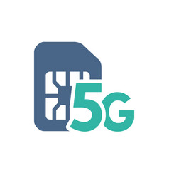 sim card with 5g network flat icon mobile slot vector image