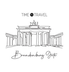Single continuous line drawing brandenburg gate vector