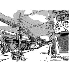 sketch of city life vector image