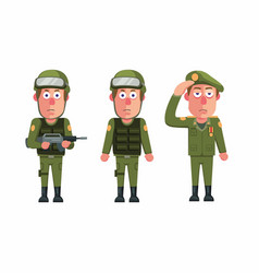 soldier army man uniform character icon set vector image