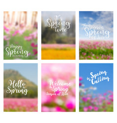 Spring flowers ideas concept with positive quotes vector