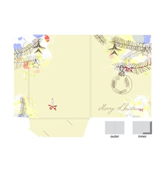 template for christmas folder vector image vector image