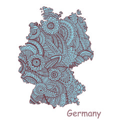Textured map of germany hand drawn ethno vector