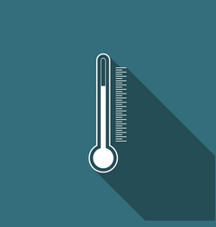 thermometer icon isolated with long shadow vector image