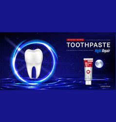 Toothpaste for night repair promo poster vector