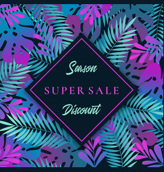 tropical leaves abstract banner vector image