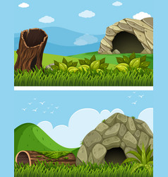 two scenes with cave in the field vector image