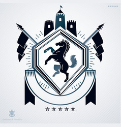 Vintage emblem made in heraldic design and vector