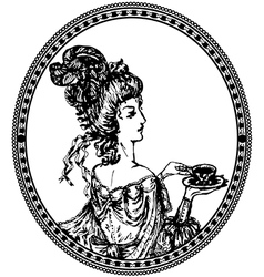 Vintage lady vignette vector image