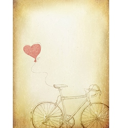 Vintage Valentines with Bicycle and Heart Baloon A vector image