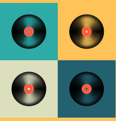 vinyl record set in retro colors old music disc vector image