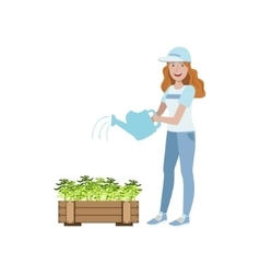 Volunteer Watering The Plants vector image