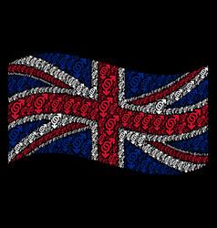 waving british flag mosaic of gay symbol icons vector image