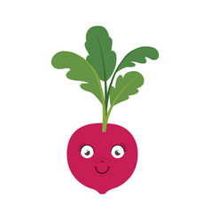 White background of red beet caricature with stem vector