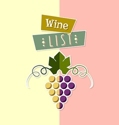 Wine list cover template vector image