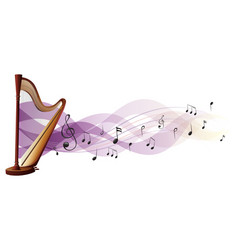 Wooden harp with music notes in background vector