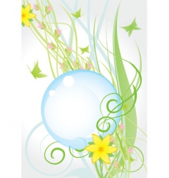 Yellow nature flowers round fr vector