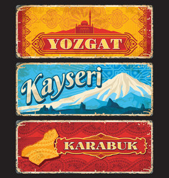 Yozgat kayseri karabuk il provinces of turkey vector