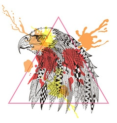 zentangle stylized eagle in triangle frame vector image
