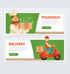 banner with italian pizzaiolo and delivery service vector image