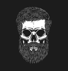 bearded skull on dark background design element vector image vector image