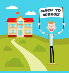 boy with a poster go back to school vector image