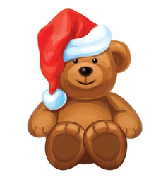 brown bear in red Santas hat vector image vector image