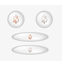 button with dollar currency symbol vector image vector image