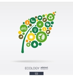Color circles flat icons in a leaf shape ecology vector image vector image