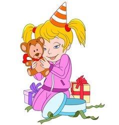cute happy cartoon girl with teddy bear vector image vector image