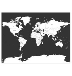 political map of world white lands and dark grey vector image