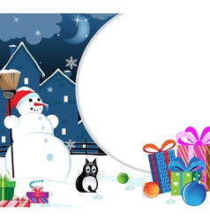 Snowman with Christmas presents vector image vector image