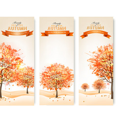 Three autumn abstract banners with colorful leaves vector image vector image
