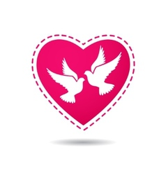 Two white doves on a red heart background vector image vector image