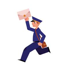 cartoon postman mailman character running vector image