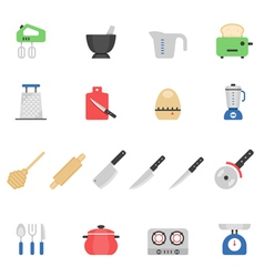 Color icon set - kitchenware vector image vector image