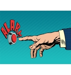 hand presses alarm button vector image vector image