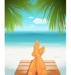 Legs on beach vector image