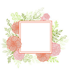 pink flowers and green leaves vector image vector image