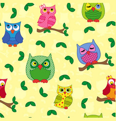 seamless pattern with ornamental owls over yellow vector image