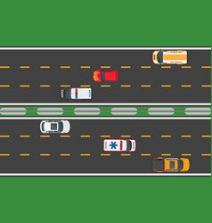 six fast vehicles driving on road background vector image