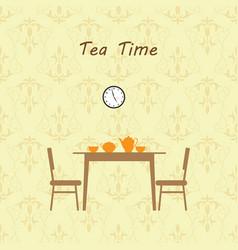tea time kitchen interior vector image