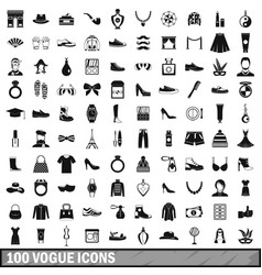 100 vogue icons set simple style vector