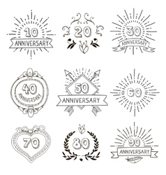 Anniversary birthdays festive emblems icons set vector image vector image