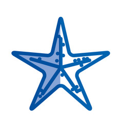 blue shading silhouette of sea starfish vector image vector image