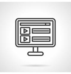 Online video black line icon vector image