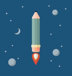 pencil rocket flies into space vector image vector image