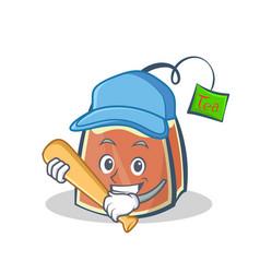 playing baseball tea bag character cartoon vector image vector image