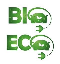 symbols bio eco cars vector image