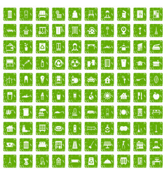 100 cleaning icons set grunge green vector image vector image